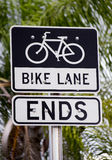 Bike lane ends sign Royalty Free Stock Photos