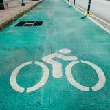 Bike lane. Green bike lane, road for bicycles Royalty Free Stock Image