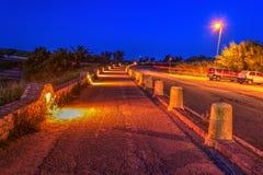 Bike lane by night Stock Photo