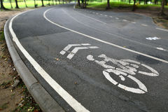 Bike lane in the park Royalty Free Stock Image