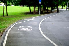 Bike Lane in the park. Bike lane for bicycle only Stock Image