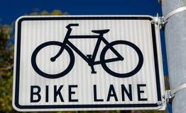 Bike Lane Parking Sign in Urban Setting Stock Image