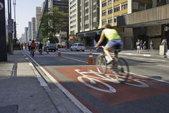 Bike lane in Paulista Avenue - São Paulo Stock Photo