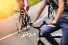 Bike lane. Photo of a Bike lane and a morning light Royalty Free Stock Photo