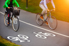 Bike lane. Photo of a Bike lane and a morning light royalty free stock photography