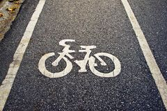 Bike Lane on the road Royalty Free Stock Photography