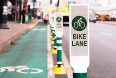 Bike lane, road for bicycles  in the city Royalty Free Stock Photo