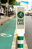 Bike lane, road for bicycles  in the city Stock Images