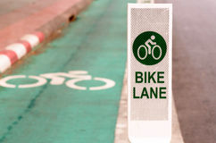 Bike lane, road for bicycles  in the city Stock Photography