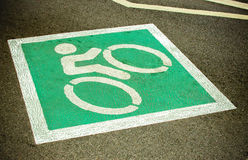 Bike lane, road for bicycles. empty bicycle lane in city street. Bike lane in city street (bike, road, sign Stock Photo