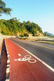 Bike lane in road beside the sea Chanthaburi, Thailand. Stock Photography