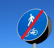 Bike lane road sign. Bike lane end road sign Stock Photography