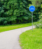 Bike lane. Road sign indicates the road for bicycles Royalty Free Stock Photography