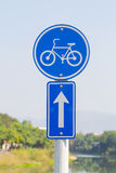 Bike lane road sign label in Thailand. Stock Photos