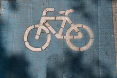 Bike lane safety for bicycle cyclist and exercise people. royalty free stock photography
