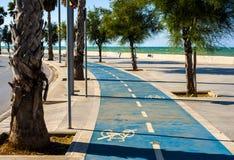 Bike lane sea city Stock Image