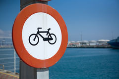 Bike lane beside the sea Stock Photos