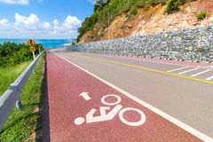 Bike lane and sea view Royalty Free Stock Photography