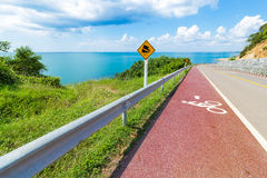 Bike lane and sea view Royalty Free Stock Photo