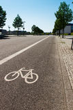 Bike lane separated from the rest of the street Stock Photos