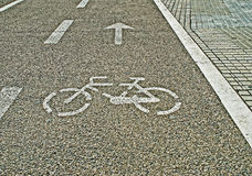 Bike lane. By a side walk Stock Images