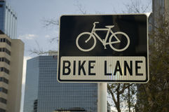 Bike Lane Sign. With icon in downtown Tampa Bay, Florida Stock Images