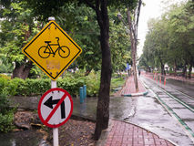 Bike lane sign and don't turn left.  Royalty Free Stock Image