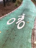 Bike Lane sign on a green road. Green Bike lane, with a white bike painted in the middle, in the park Stock Photo