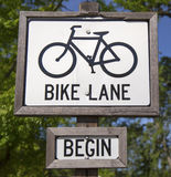 Bike lane sign. In Napa Valley, California Royalty Free Stock Photo