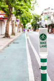 Bike lane sign on road. In bangkok city Stock Photos