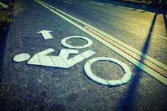 A bike lane sign Royalty Free Stock Image