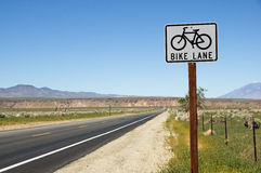 Bike Lane Sign On Side Of Road Stock Photography