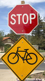 Bike lane sign and Stop sign Stock Image