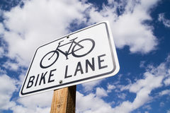 Bike Lane sign. Royalty Free Stock Photo