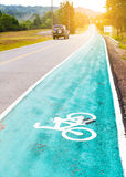 Bike lane sign on a street Stock Images