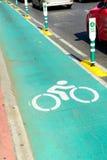 Bike lane signal on the street Royalty Free Stock Photos