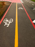 Bike Lane signs on street ground royalty free stock images
