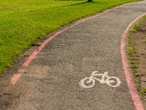 Bike Lane signs on streets ground in Brazil Stock Photos