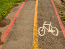 Bike Lane signs on streets ground in Brazil Stock Image
