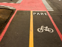 Bike Lane signs on streets ground in Brazil Stock Photo