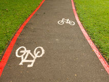 Bike Lane signs on streets ground in Brazil Stock Photography