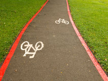 Bike Lane signs on streets ground in Brazil Royalty Free Stock Photos
