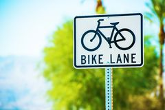 Bike Lane Street Sign Stock Photography