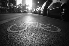 Bike lane in sunrise. In Frankfurt Royalty Free Stock Images