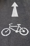 Bike Lane Symbol, Bicycle white sign. On road Royalty Free Stock Images