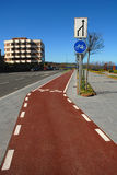 Bike lane without traffic. On a sunny day Royalty Free Stock Images
