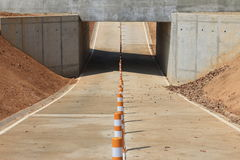 Bike lane, underpass. Bike lane towards the underpass, bike way, underpass, tunnel Royalty Free Stock Photos