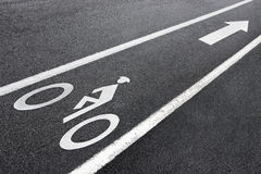 BIKE LANE IN USA. Royalty Free Stock Images