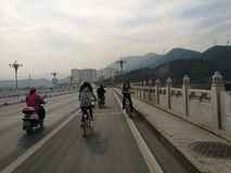 Bike lanes Beijing China. Bike lanes in Biejing. Located in the romote West of Beijing Shijingshan, famous for its mountains Royalty Free Stock Images