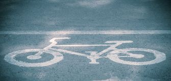 Bike lanes, Bicycle road sign on the road.  royalty free stock image